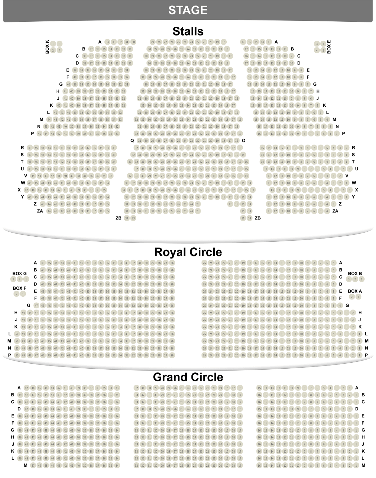 Lyceum Theatre seating plan