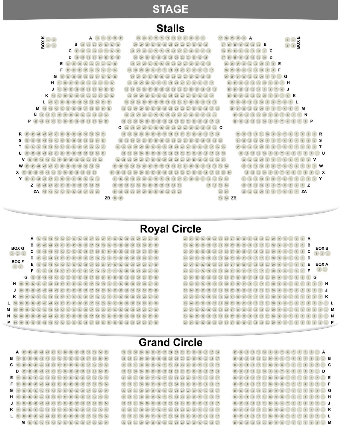 Plan de salle du Lyceum Theatre